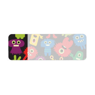 Colorful Crazy Fun Monsters Creatures Pattern Return Address Label
