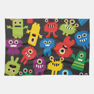 Colorful Crazy Fun Monsters Creatures Pattern Tea Towel