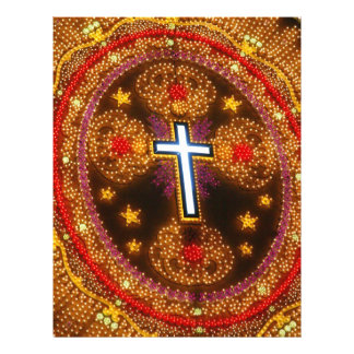 Colorful cross of lights personalized flyer