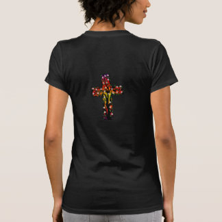 Colorful Cross with vines, leaves, and flowers Tee Shirt
