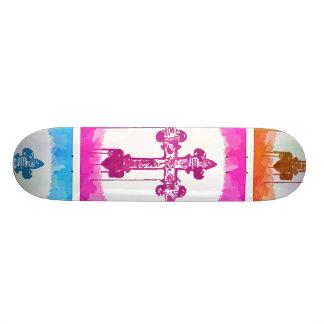 Colorful Crosses Christian Pop Art Collage 21.3 Cm Mini Skateboard Deck