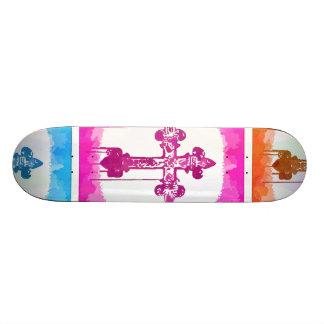 Colorful Crosses Christian Pop Art Collage Skate Board Deck