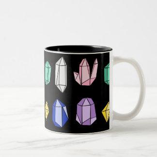 Colorful Crystals Pattern Black Two-Tone Coffee Mug