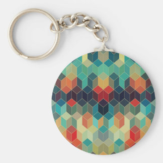 Colorful Cubes Geometric Pattern 2 Basic Round Button Key Ring