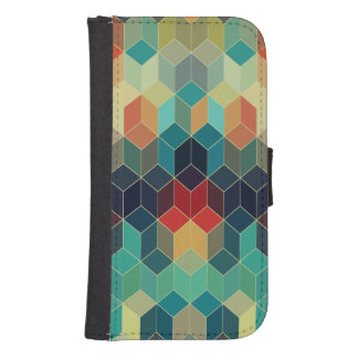 Colorful Cubes Geometric Pattern 2 Samsung S4 Wallet Case