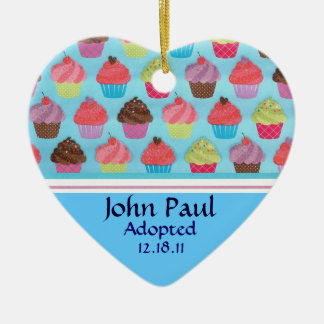 Colorful Cupcake Adoption Announcement Ornament