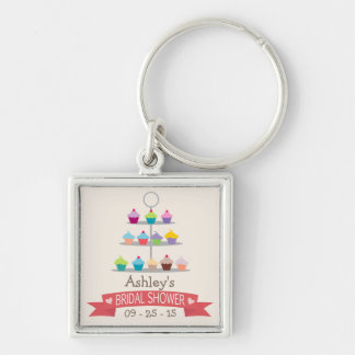 Colorful Cupcake Tree Bridal Shower Key Chain