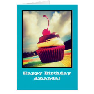 Colorful Cupcake with Cherry on Top Greeting Card