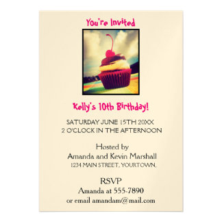 """Colorful Cupcake with Cherry on Top 5"""" X 7"""" Invitation Card"""