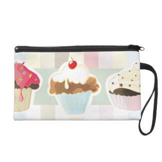 colorful cupcake wristlet purse