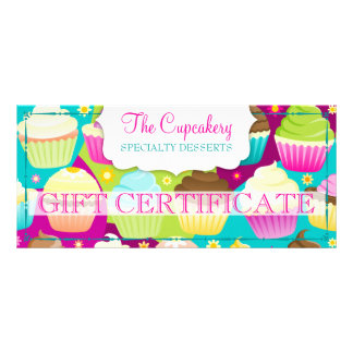 Colorful Cupcakes Gift Certificate Personalized Rack Card