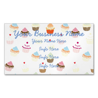 Colorful Cupcakes Pattern Magnetic Business Cards