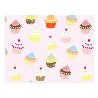 Colorful Cupcakes Pattern Postcard
