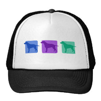 Colorful Curly Coated Retriever Silhouettes Hat