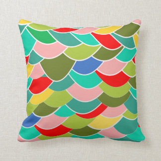 Colorful Curves Fish Scale Pattern Cushion