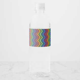 Colorful Curves Water Bottle Label