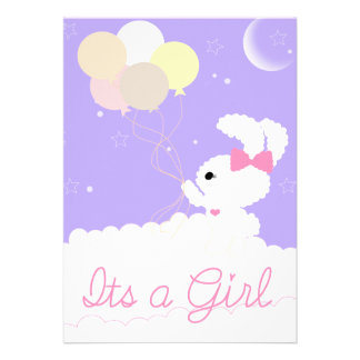 Colorful Cute Baby Shower Invitation for a GIRL