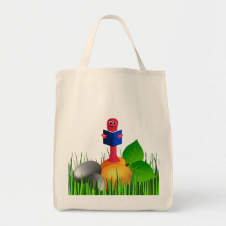 Colorful Cute Bookworm or Book Worm in the Grass