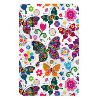 Colorful Cute Butterfly's And Flowers Pattern Rectangular Photo Magnet