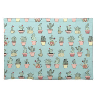 Colorful Cute Cactus In Hand Drawn Style Pattern Placemat