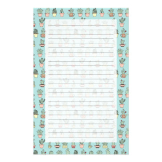 Colorful Cute Cactus In Hand Drawn Style Pattern Stationery