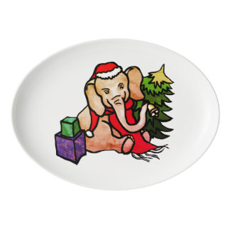 Colorful Cute Christmas Cartoon Elephant in Snow Porcelain Serving Platter