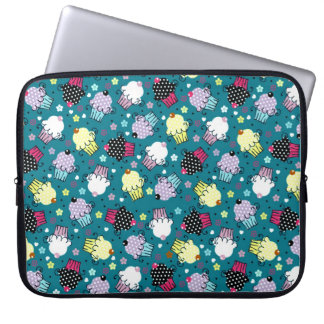 Colorful Cute Cupcake Pattern-Turquoise-Green Back Laptop Computer Sleeve