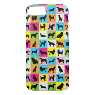 Colorful Cute Dogs Silhouettes iPhone 7 Case