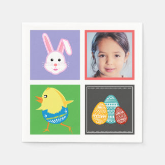 Colorful Cute Easter Bunnies and Eggs Custom Photo Disposable Serviettes