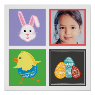 Colorful Cute Easter Bunnies and Eggs Custom Photo Poster