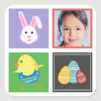 Colorful Cute Easter Bunnies and Eggs Custom Photo Square Sticker