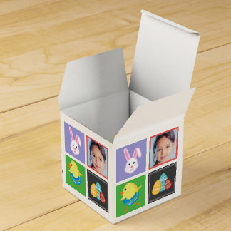 Colorful Cute Easter Bunnies and Eggs Custom Photo Wedding Favour Box