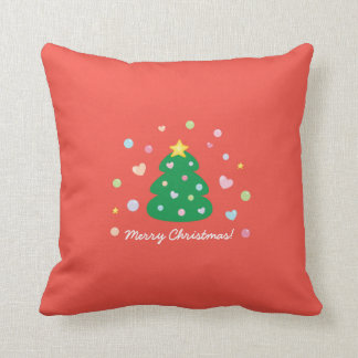 Colorful Cute Festive Merry Christmas Tree Cushion