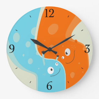 Colorful Cute Fire and Water Element In Hug Clock