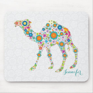 Colorful Cute Floral Camel & White Damasks Mouse Mat