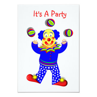 Colorful Cute Fun Circus Clown Juggling Card
