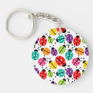 Colorful Cute Lady Bug Seamless Pattern Double-Sided Round Acrylic Key Ring
