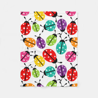 Colorful Cute Lady Bug Seamless Pattern Fleece Blanket