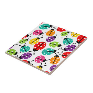Colorful Cute Lady Bug Seamless Pattern Tile