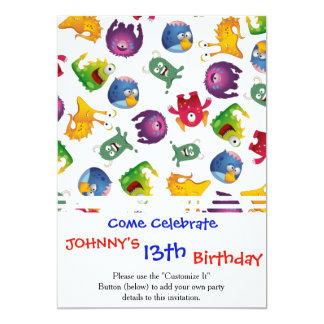 Colorful Cute Monsters Fun Cartoon 13 Cm X 18 Cm Invitation Card