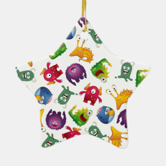 Colorful Cute Monsters Fun Cartoon Christmas Ornament