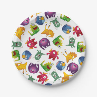Colorful Cute Monsters Fun Cartoon Paper Plate