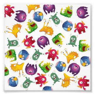 Colorful Cute Monsters Fun Cartoon Photo Print