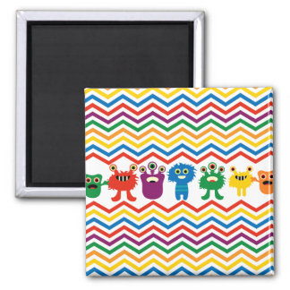 Colorful Cute Monsters Fun Chevron Striped Pattern Magnet