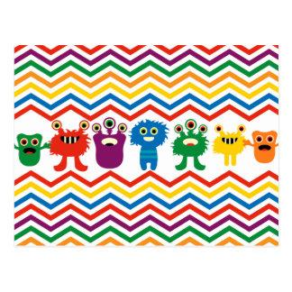 Colorful Cute Monsters Fun Chevron Striped Pattern Postcard