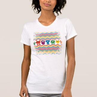 Colorful Cute Monsters Fun Chevron Striped Pattern T-Shirt