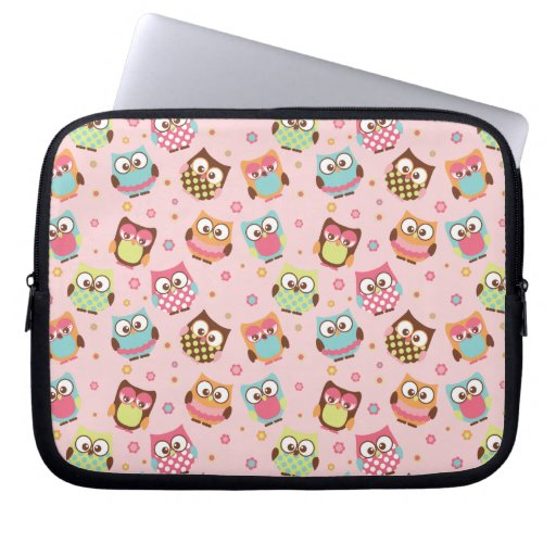 Colorful Cute Owls laptop sleeve (rose)