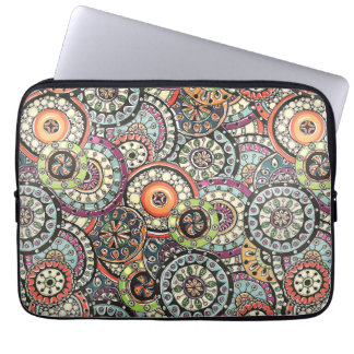 Colorful Cute Retro Chic Floral Circles Pattern Laptop Sleeve