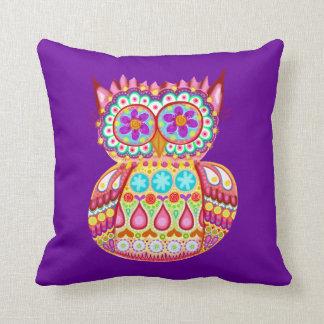 Colorful Cute Retro Owl Pillow Cushion
