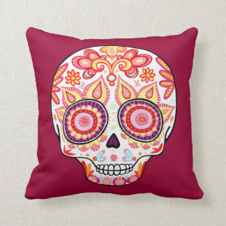 Colorful Cute Sugar Skull Pillow